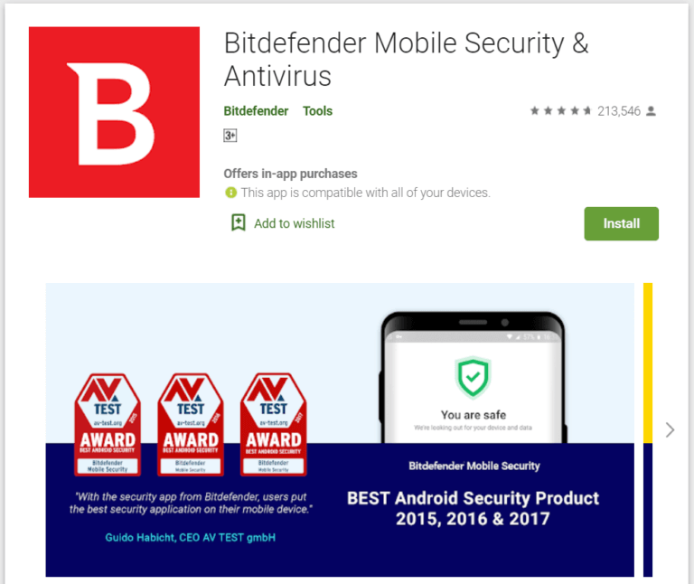 Bitdefender Mobile Security 768x646 1 - أفضل 10 برامج مكافحة فيروسات مجانية لنظام Android في 2020