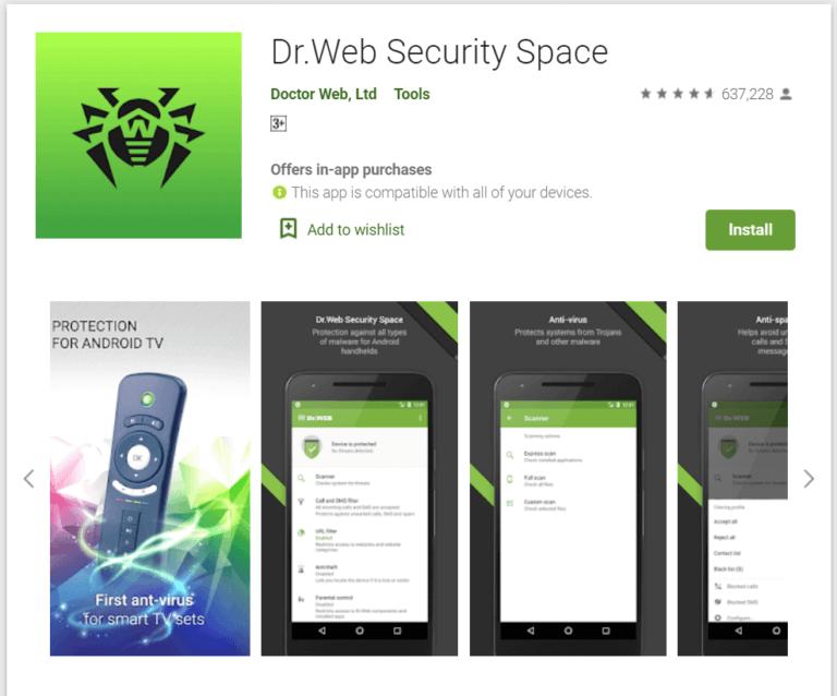 Dr. Web Security 768x638 1 - أفضل 10 برامج مكافحة فيروسات مجانية لنظام Android في 2020