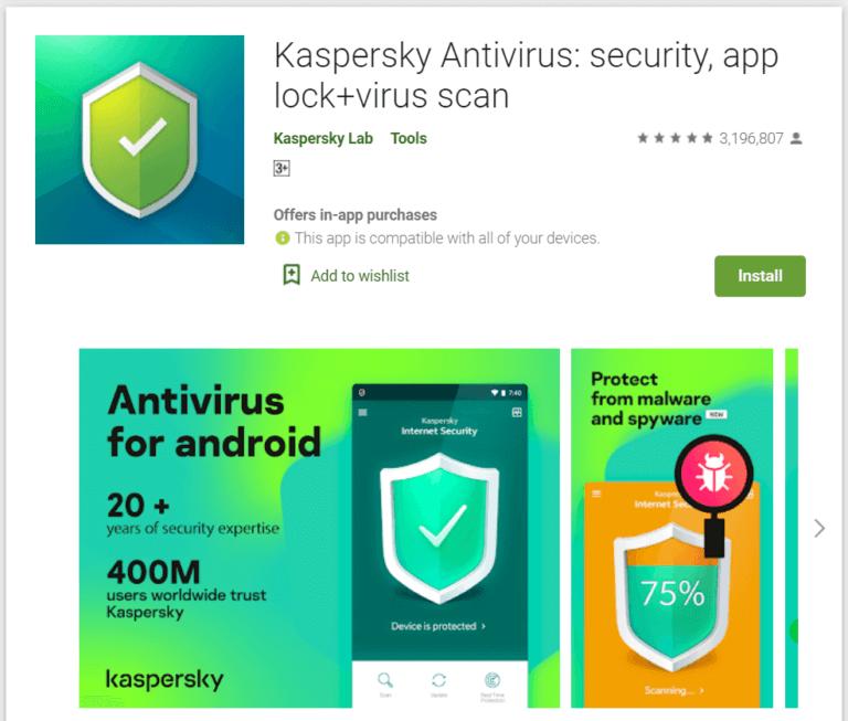 Kaspersky Antivirus 768x653 1 - أفضل 10 برامج مكافحة فيروسات مجانية لنظام Android في 2020