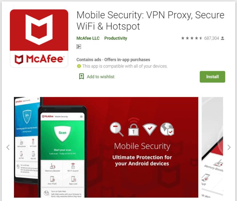 McAfee Mobile Security 768x650 1 - أفضل 10 برامج مكافحة فيروسات مجانية لنظام Android في 2020