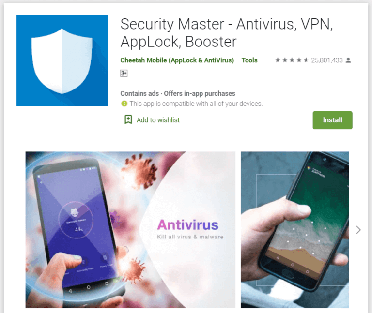 Security master 768x647 1 - أفضل 10 برامج مكافحة فيروسات مجانية لنظام Android في 2020