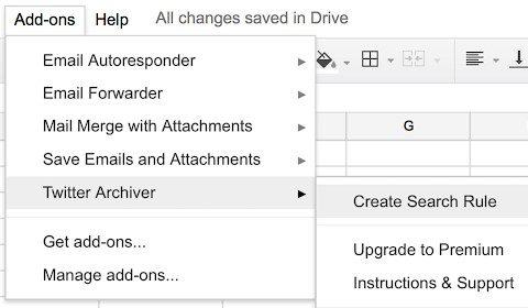twitter archiver - أفضل 15 وظيفة إضافية لـ Google Sheets لتحسين الأداء